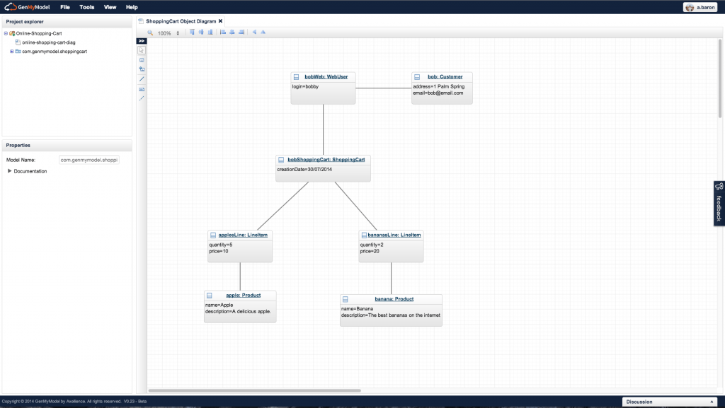 Object Diagram created in GenMyModel